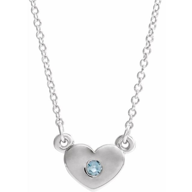 "Sterling Silver Aquamarine Heart 16"" Necklace"