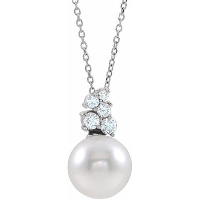 "14K White Freshwater Cultured Pearl & 1/4 CTW Diamond 16-18"" Necklace"
