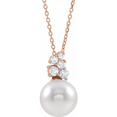 "14K Rose Freshwater Cultured Pearl & 1/4 CTW Diamond 16-18"" Necklace"