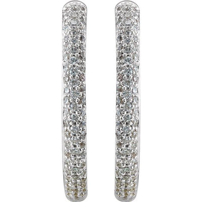 18K White 1 CTW Diamond Inside-Outside Hinged 24 mm Hoop Earrings