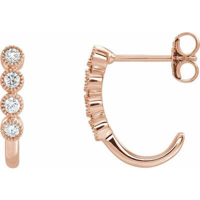 14K Rose 1/4 CTW Diamond J-Hoop Earrings