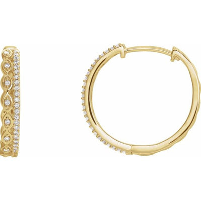 14K Yellow 1/4 CTW Diamond Geometric Hoop Earrings