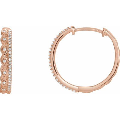 14K Rose 1/4 CTW Diamond Geometric Hoop Earrings