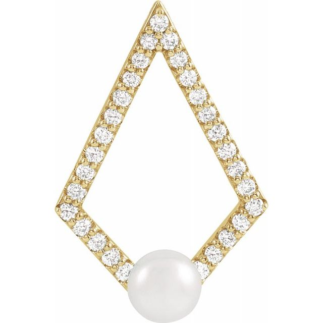 14K Yellow Freshwater Cultured Pearl and 1/4 CTW Diamond Pendant