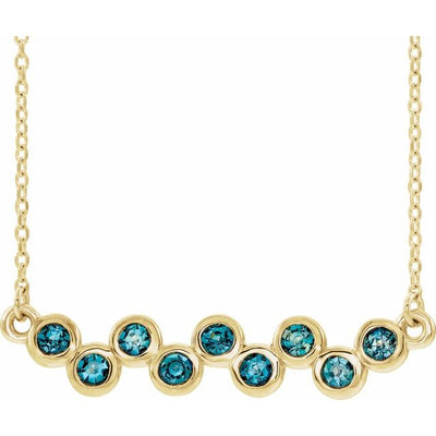 "14K Yellow Aquamarine Bezel-Set Bar 16-18"" Necklace"