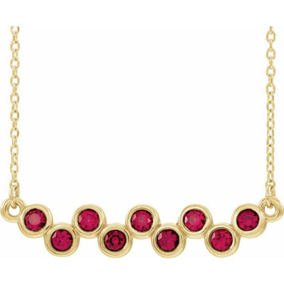 "14K Yellow Chatham® Created Ruby Bezel-Set Bar 16-18"" Necklace"