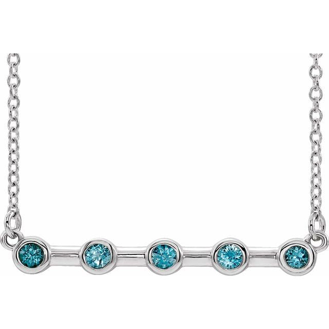 "14K White Blue Zircon Bezel-Set 16"" Bar Necklace"