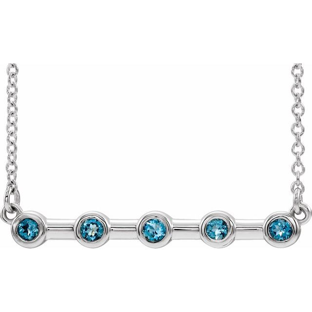 "14K White Aquamarine Bezel-Set Bar 18"" Necklace"