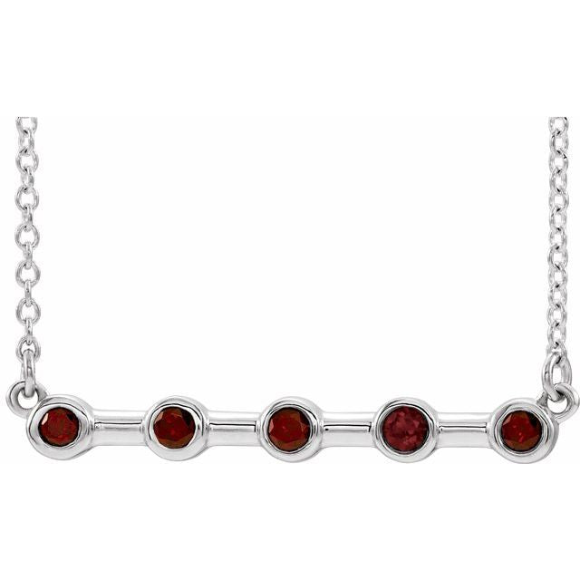 "14K White Mozambique Garnet Bezel-Set Bar 16"" Necklace"