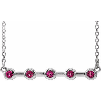 "14K White Pink Tourmaline Bezel-Set Bar 16"" Necklace"