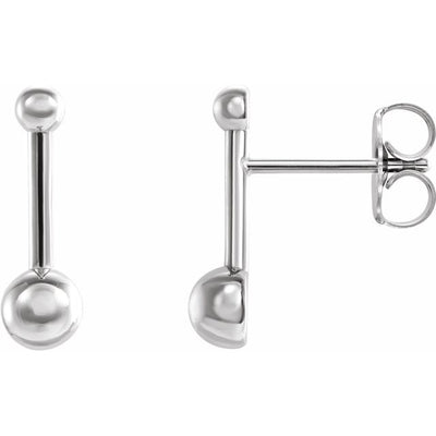Sterling Silver Bar & Ball Earrings