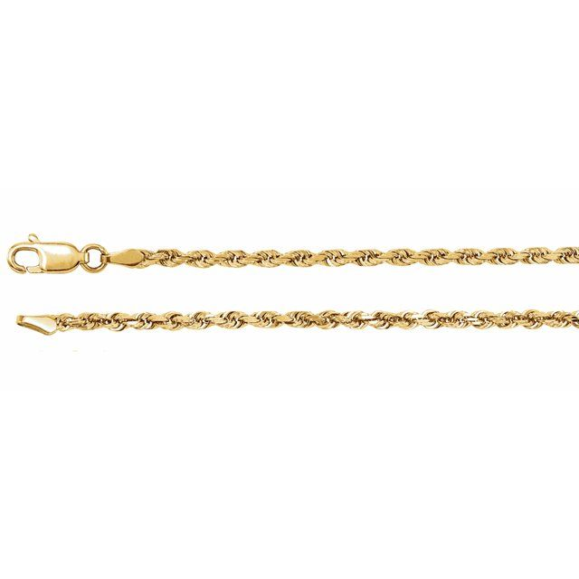 "14K Yellow 2.5 mm Diamond Cut Rope 24"" Chain"