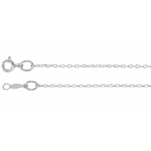 "Sterling Silver 1 mm Cable 14"" Chain"