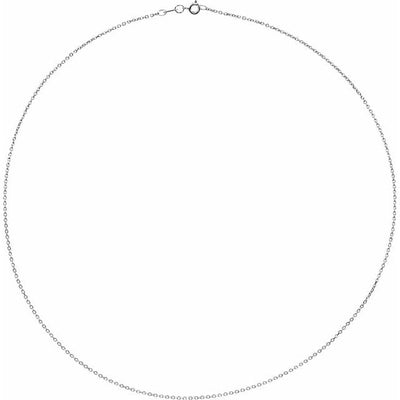 "Sterling Silver 1 mm Diamond Cut Cable 30"" Chain"
