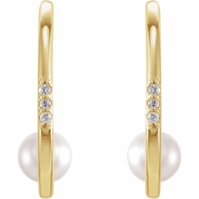 14K Yellow Freshwater Cultured Pearl & .03 CTW Diamond Hoop Earrings