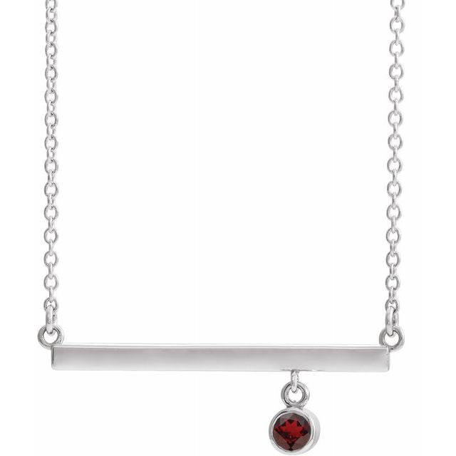 "Sterling Silver Mozambique Garnet Bezel-Set 16"" Bar Necklace"