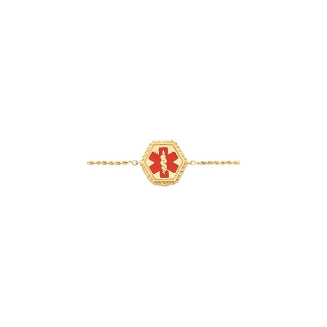 "14K Yellow & Red Enamel Medical Identification Rope 7"" Bracelet"