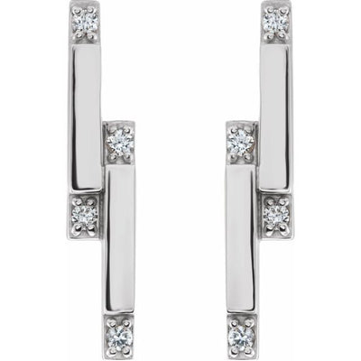 14K White 1/10 CTW Diamond Bar Earrings