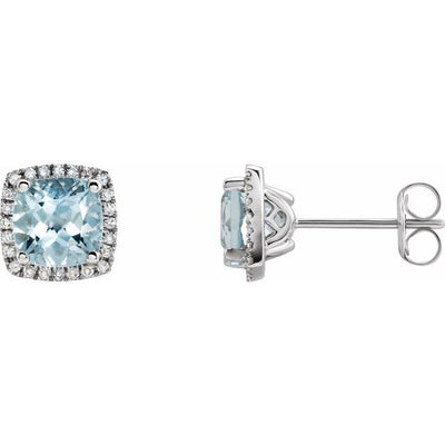14K White Aquamarine & 1/8 CTW Diamond Earrings