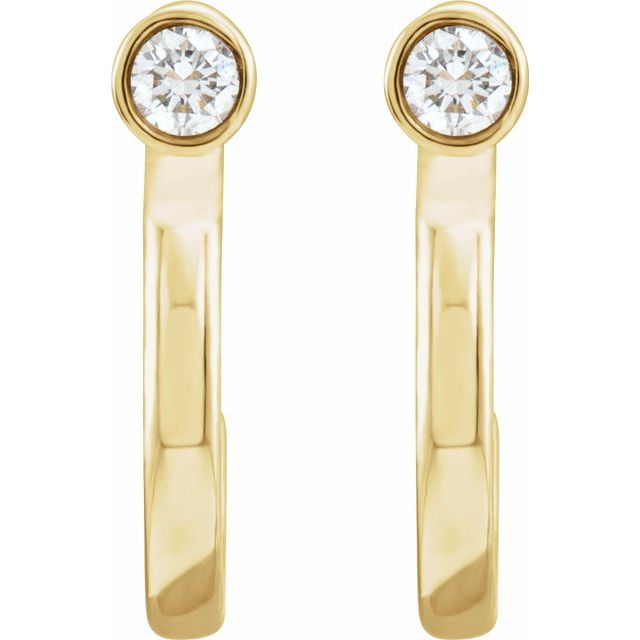 14K Yellow 1/8 CTW Diamond Bezel-Set Hoop Earrings