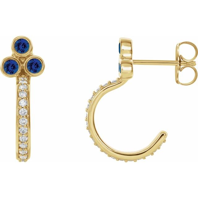 14K Yellow Chatham® Lab-Created Blue Sapphire & 1/4 CTW Diamond J-Hoop Earrings