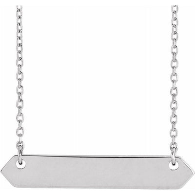 "Sterling Silver 33x6 mm Geometric 16-18"" Necklace"