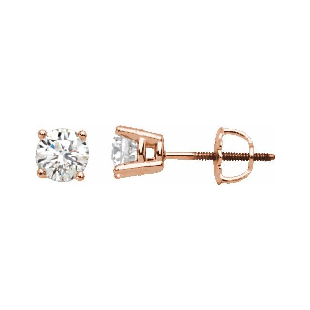 14K Rose 1/4 CTW Diamond Stud Earrings