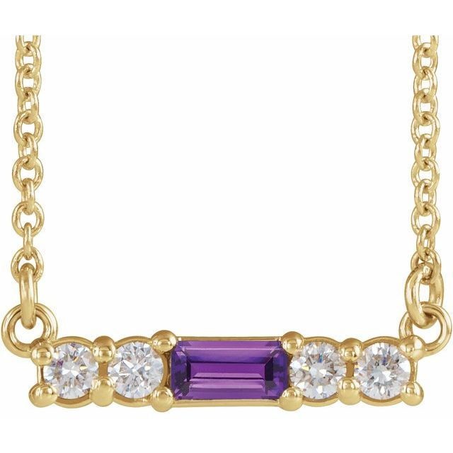"14K Yellow Amethyst & 1/5 CTW Diamond 16"" Necklace"