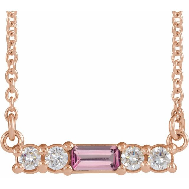 "14K Rose Pink Tourmaline & 1/5 CTW Diamond 16"" Necklace"