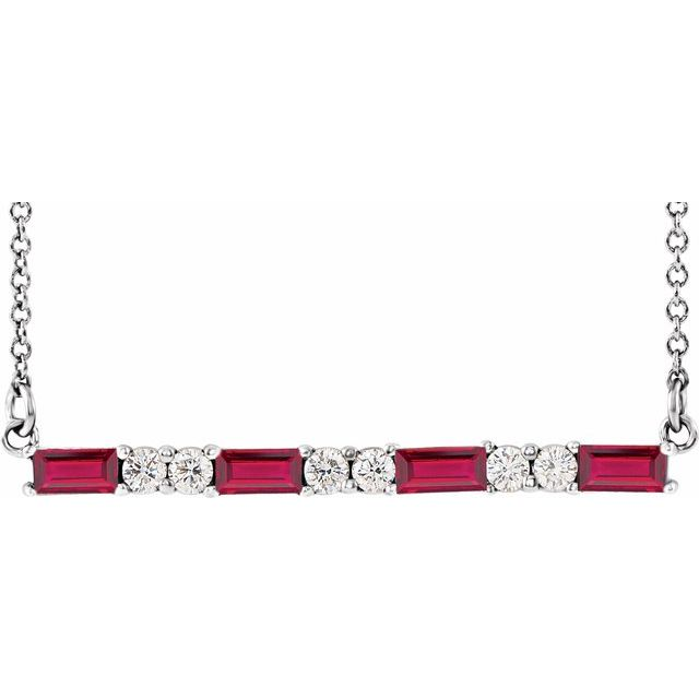 "14K White Ruby & 1/5 CTW Diamond Bar 16-18"" Necklace"