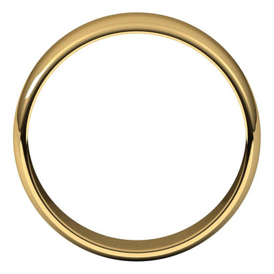 18K Yellow Gold 6 mm Half Round Light Wedding Band