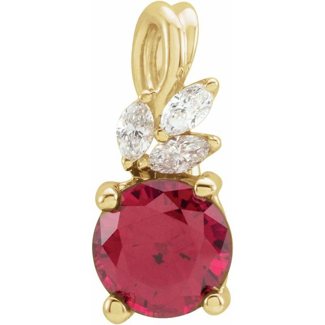 14K Yellow Chatham® Created Ruby & 1/10 CTW Diamond Pendant