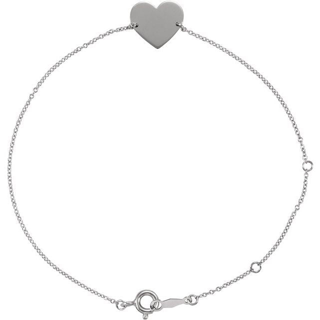 "14K White 7-8"" Heart Shaped Bracelet"