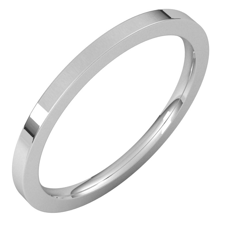 10K  White Gold 1.5 mm Flat Comfort Fit Wedding Band