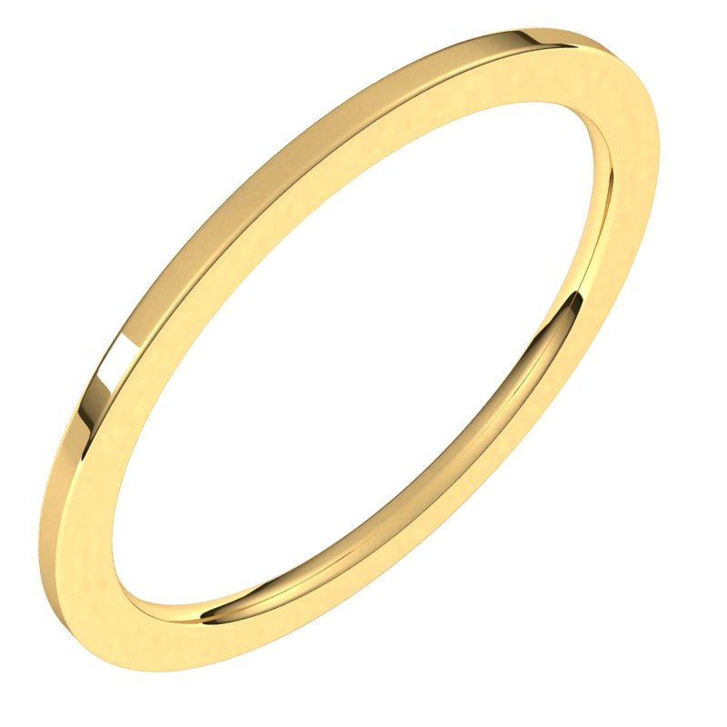 10K  Yellow Gold 1 mm Flat Comfort Fit Wedding Band
