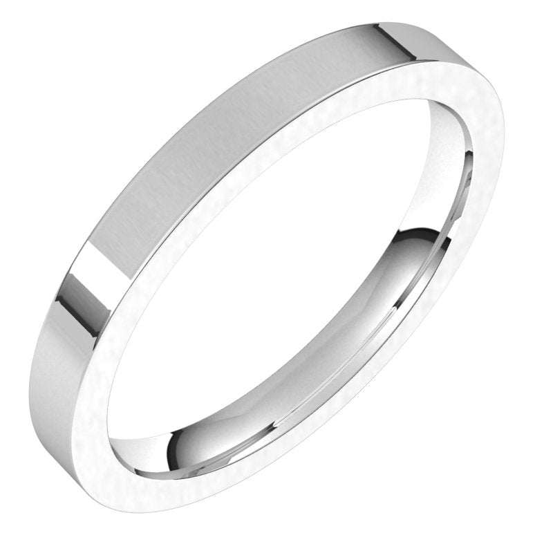 10K  White Gold 2.5 mm Flat Comfort Fit Wedding Band