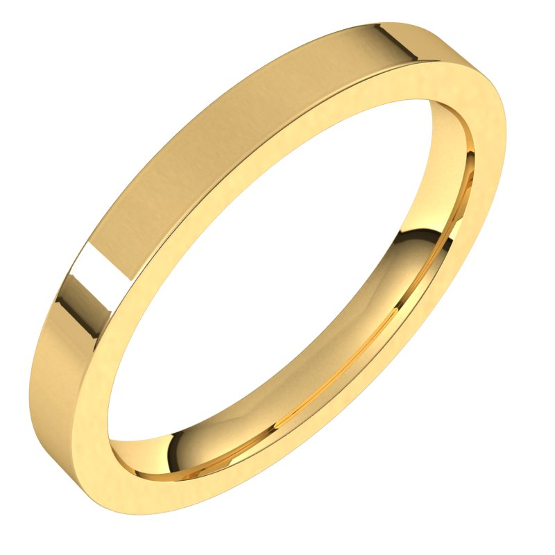 10K  Yellow Gold 2.5 mm Flat Comfort Fit Wedding Band