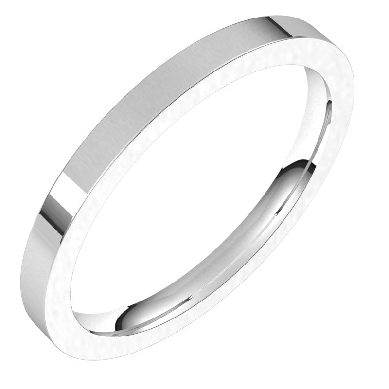 10K  White Gold 2 mm Flat Comfort Fit Wedding Band