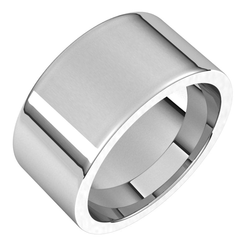 10K  White Gold 10 mm Flat Comfort Fit Wedding Band