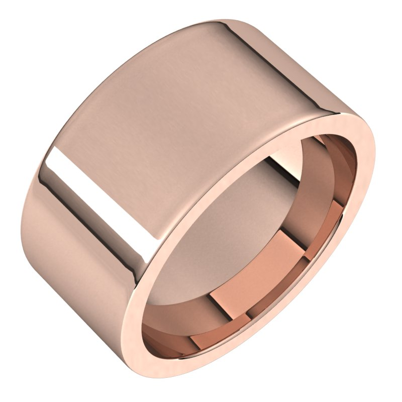 10K  Rose Gold 10 mm Flat Comfort Fit Wedding Band