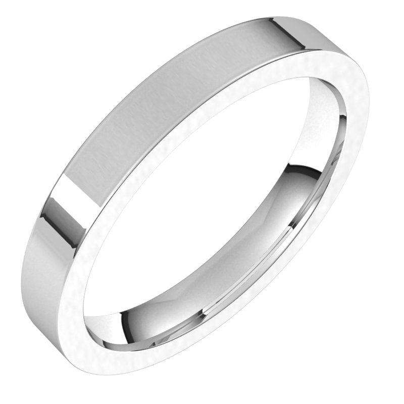 10K  White Gold 3 mm Flat Comfort Fit Wedding Band