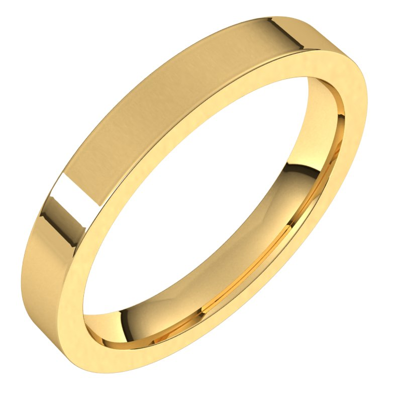 10K  Yellow Gold 3 mm Flat Comfort Fit Wedding Band