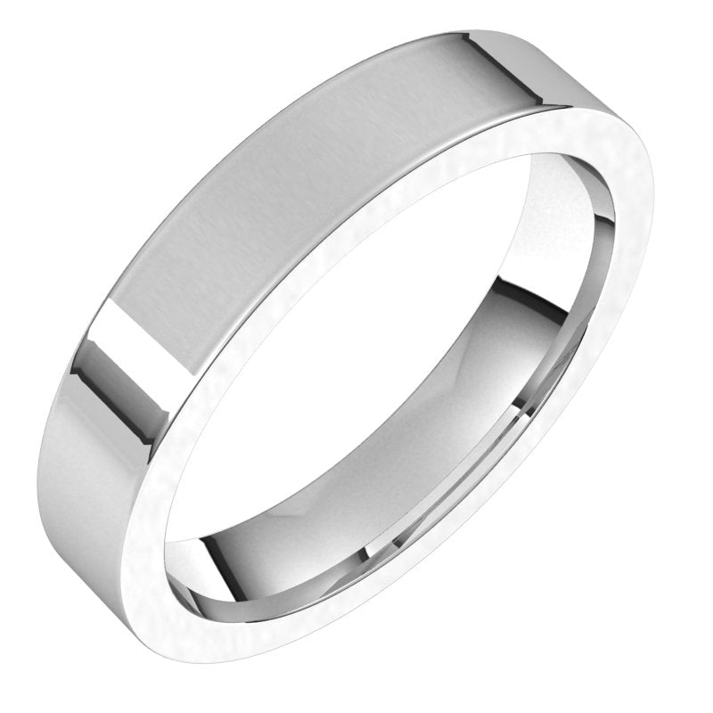10K  White Gold 4 mm Flat Comfort Fit Wedding Band