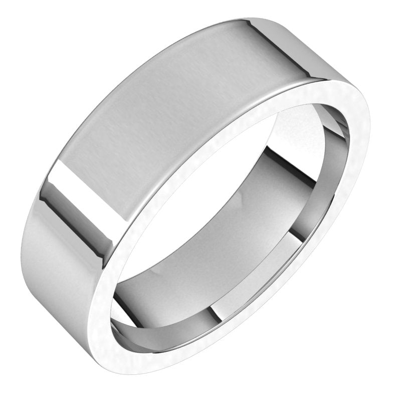 10K  White Gold 6 mm Flat Comfort Fit Wedding Band