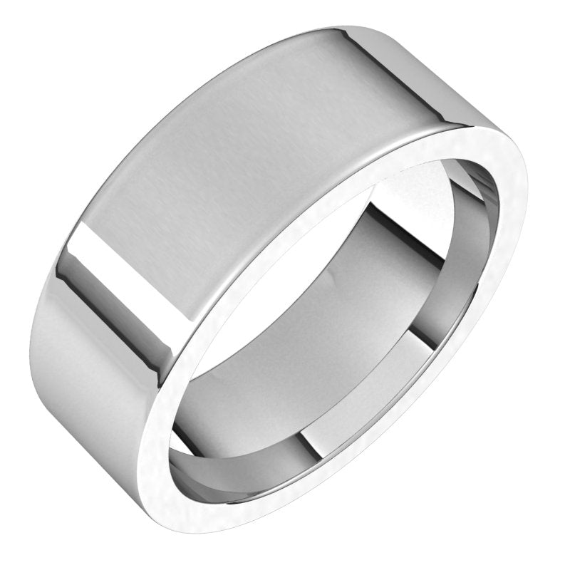10K  White Gold 7 mm Flat Comfort Fit Wedding Band