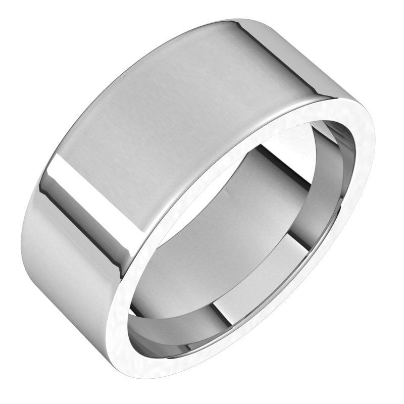 10K  White Gold 8 mm Flat Comfort Fit Wedding Band
