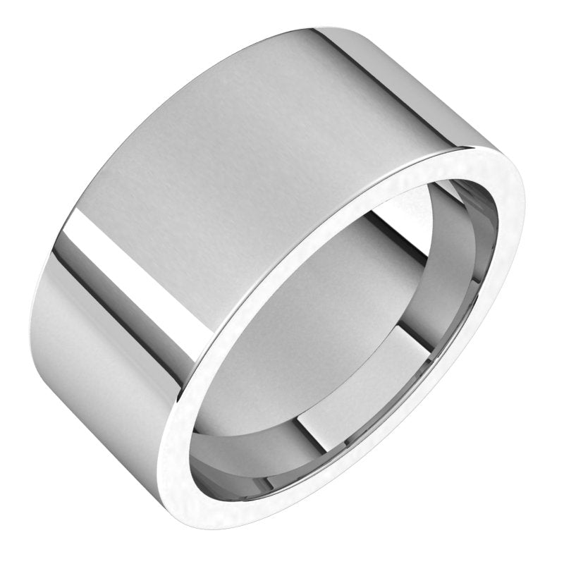 10K  White Gold 9 mm Flat Comfort Fit Wedding Band