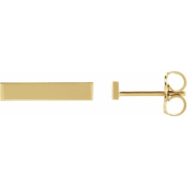 14K Yellow Bar Earring