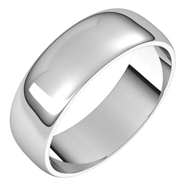 Sterling Silver 6 mm Half Round Light Wedding Band