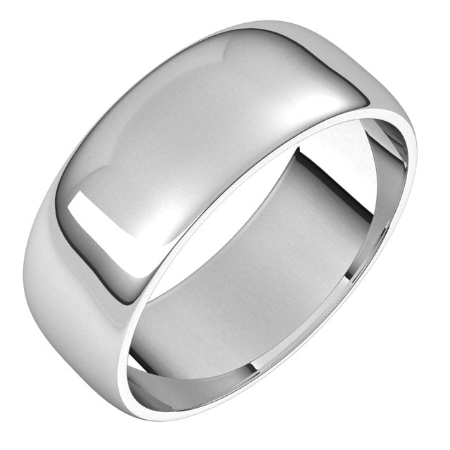 Sterling Silver 7 mm Half Round Light Wedding Band